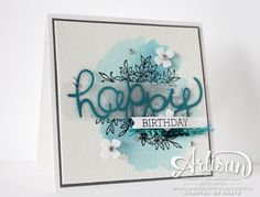 Love for Stamping: Koffie & Kaart. (Pin#1: Background: Watercolor. Pin+: Words; Vellum; Birthday).