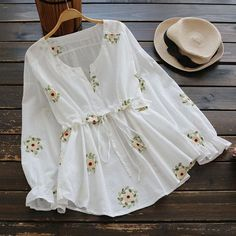 Buy Drawstring Waist Notched Floral Blouse, sale ends soon. Be inspired: discover affordable quality shopping on Gearbest Mobile! Trend Fashion, Hijab Fashion, Fashion Dresses, Womens Fashion, Cute Blouses, Blouses For Women, Ladies Blouses, Women's Blouses, Kurta Designs