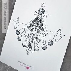 Ganesha moon astronomy tattoo design (custom design for Vimal Tailor)
