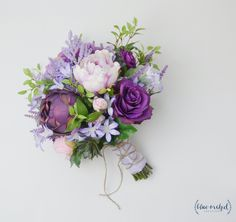 Boho Bouquet, Purple, Lavender, Wildflower Bouquet, Light Purple, Peony Bouquet, Wedding Bouquet, Bridal Bouquet, Silk Flower Bouquet by blueorchidcreations on Etsy
