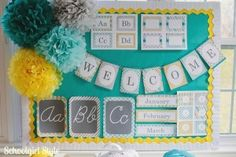 Really cute classroom themes! I really wanted to do a yellow and grey theme but felt it needed another color, and viola! Teal! Love :)