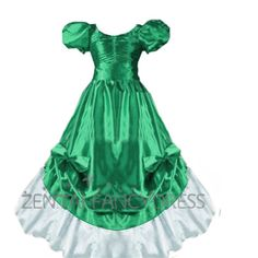 Green And White Gothic Victorian Dress Round Neck Puff Sleeves With Multi Ruffles