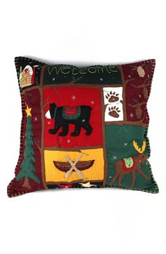 New World Arts Bear and Moose Accent Pillow