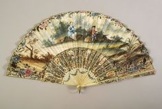 Pleated fan  French, 18th century  Painted paper leaf with painted and carved ivory and mother of pearl sticks and guards  Gift of Dr. Lotar and Luanna Stahlecker, KSUM 2004.31.86