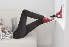 red converse, skinnies, stripes
