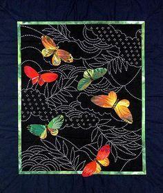 Butterflies & Sashiko pattern. www.AlderwoodQuilts.com