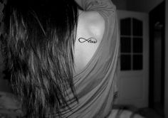the word 'love' as part of an infinity symbol