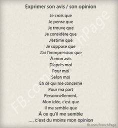 French expressions of opinion French Language Lessons, French Language Learning, French Lessons, French Teaching Resources, Teaching French, Teacher Resources, Ap French, Study French, French Tips