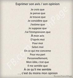 Phrases utiles pour exprimer son avis/opinion