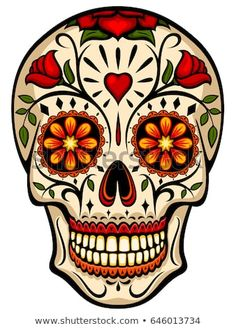 Vector illustration of an ornately decorated Day of the Dead sugar skull, or calavera. Illustration uses no gradients, meshes or blends, only solid color. Sugar Skull Images, Sugar Skull Artwork, Sugar Skull Painting, Sugar Skull Drawings, Sugar Skull Wallpaper, Skull Tattoo Design, Skull Design, Tattoo Designs, Caveira Mexicana Tattoo