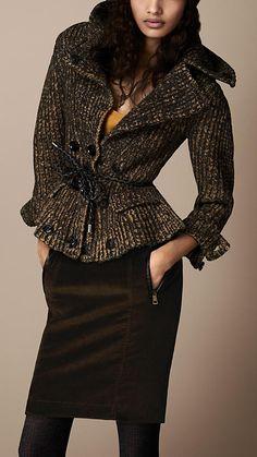 Merino Wool Blend Peplum Cardigan | Burberry