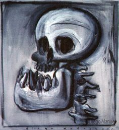"""calavera que rie"", acrylic on canvas, 65 x 70 cm. , 1998. Painting of the Serie Surrealism for sale by artist Diego Manuel"