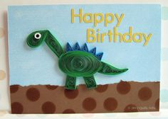 Paper Quilled Dinosaur Birthday Card by QuillyNilly on Etsy, $8.00