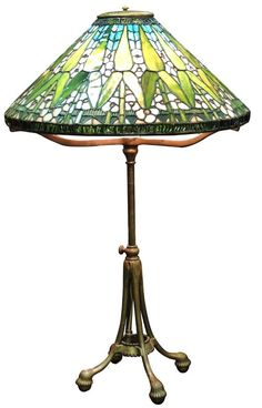 Tiffany Studios Arrowroot stained glass table lamp.