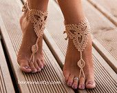 Grey Crochet Barefoot Sandals Nude shoes Foot jewelry by barmine