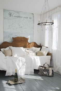 Cottage Vintage Chic Bedroom. Beautiful Antique daybed. Love the bedding & the chandalier & wall decor with wood floors. Gorgeous bedroom for a girl of any age.