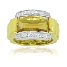 Pre-owned 18k White and Yellow Gold Diamond and Citrine Ring Size 6.5 (3.015 BRL) ❤ liked on Polyvore featuring jewelry, rings, gold rings, diamond rings, white gold rings, pre owned diamond rings and yellow gold rings