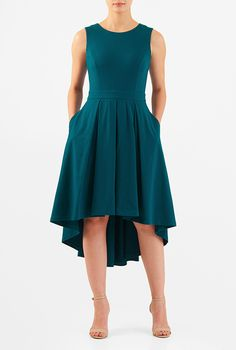 High-low hem cotton knit dress #eShakti