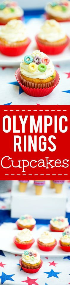 Olympic Rings Cupcakes and even more Olympics Party Ideas - Get ready to cheer Team USA on as they #GetReadyForGold with these fabulous and fun Olympics party ideas to host an amazing Olympics party celebration, including cute Olympics party food and patriotic Team USA party decorations all from @jeweloscopr AD