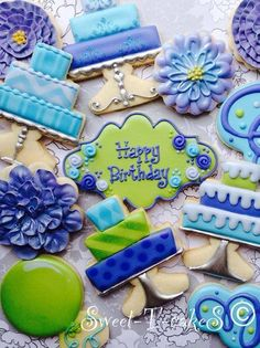 Birthday cookies~                         By Sweet cakes, blue tiered cakes, flowers, initials