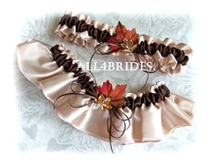 Wedding garter set, fall leaves bridal garters, champagne and chocolate brown Autumn weddings bridal accessories on Etsy, $32.00