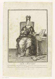 Nicolas Bonnart (fils)   De Muziek, Nicolas Bonnart (fils), 1698 - 1762   Elegante zittende vrouw, met haar linkerhand een muziekboek ophouedend. Op de tafel naast haar bladmuziek. Op de grond liggen viool en hobo. Met 4 regelig gedicht in het Frans: J'ay l'oreille du Roy....de tous mes instrumens.