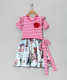 Take a look at this Pink Stripe Vivienne in Paris Dress - Toddler & Girls by Wonder Me on #zulily today!