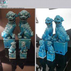 """CÃES DE FÓ, """"cães da felicidade"""" ou """"dragões da sorte"""" (macho e fêmea) em porcelana azul turquesa, dois tamanhos.... muito usados na decoração, ganharam popularidade devido ao seu significado e simbologia.... QUAL A SUA OPINIÃO sobre estes nossos conjuntos? (2 casais disponíveis) https://www.facebook.com/objecta.segunda.mao/"""