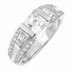 Ellianna: 1.98ct Accented Russian Ice CZ Engagement Ring 925 Silver