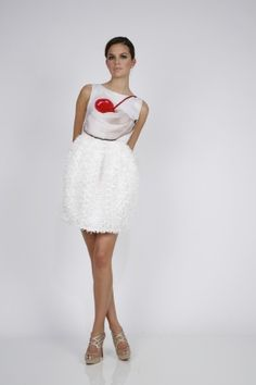 Lisa Perry Debuts Jeff Koons Inspired Collection pop art cupcake cherry on top dress white