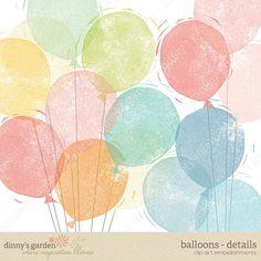 BALLOONS Stamped Digital Embellishments Clip Art by dinnysGarden