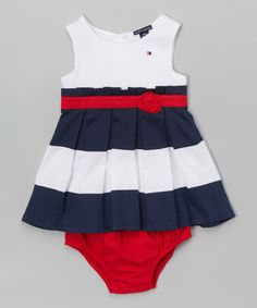 Another great find on #zulily! Red & Blue A-Line Dress & Bloomers - Infant #zulilyfinds
