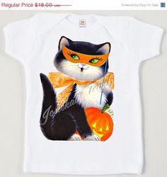 Halloween Shirt - Girl Halloween Tee - Halloween Cat Shirt - Toddler Retro…