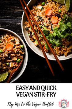 With this basic vegan stir-fry recipe you can easily and quickly create a nice dinner for two from noodles or leftover rice. Perfect for a sunday evening - just throw in what's in the fridge. #vegan #stir-fry #quick #easy #recipe #basic Vegan Stir Fry, Easy Stir Fry, Stir Fry Recipes, Meat Recipes, Whole Food Recipes, Healthy Asian Recipes, Vegan Lunch Recipes, Peanut Sauce Noodles, Nice Dinner