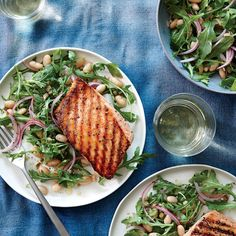 Grilled Salmon with White Bean and Arugula Salad - Quick-and-Easy Seafood Recipes - Cooking Light