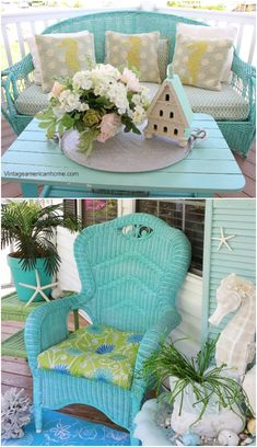Decor, Furniture, Painted Furniture, Cheap Diy Decor, Cottage Decor, Cheap Home Decor, Home Decor, Vintage Wicker Furniture, Beach Cottage Decor
