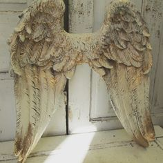 Angel wings wall hanging cream white very gold by AnitaSperoDesign