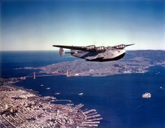 """Pan American Airways Boeing 314 NC18602 """"California Clipper"""" flying over San Francisco Bay, circa 1939. Less than two weeks after Pearl Harbor, the California Clipper was commandeered for the war effort, seeing action with the US Army Air Forces and US Navy. (Image: Pan American Airways)"""