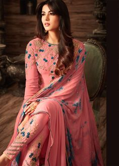 Sonal chauhan pink georgette anarkali 4808 is part of Pakistani dresses - Buy Sonal chauhan pink georgette anarkali 4808 online in USA, UK and Canada from KollyBollyEthnnics com Trajes Pakistani, Pakistani Dresses, Indian Dresses, Indian Outfits, Salwar Designs, Kurti Designs Party Wear, Dress Indian Style, Indian Wear, Indian Attire