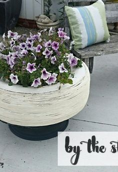 Container Gardening Ideas See if a large tractor tire will fit around cistrine check out these adorable container garden ideas to copy this spring, DIY Tire Planter Large Wooden Planters, Tire Planters, Flower Planters, Flower Pots, Container Flowers, Flower Ideas, Diy Flowers, Cedar Planter Box, Planter Boxes