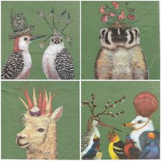 4 Single Table Party Paper Napkins for Decoupage Decopatch Garden Animals Mix