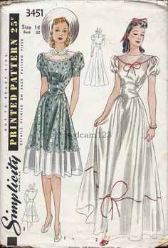 Vintage 1940 Daydress or Evening GownWide by sydcam123 on Etsy, $30.00