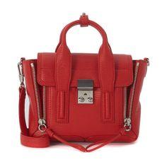 3.1 Phillip Lim Pashli Mini Satchel 3.1 Phillip Lim (€570) ❤ liked on Polyvore featuring bags, handbags, red leather satchel, mini handbags, leather satchel, handbag satchel and mini purse