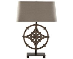 "http://beautifulhomestore.com/l233.html  Cardinal Lamp, Set of Two by Aidan Gray - Free Shipping  Item#: L233  Reminding us of a compass, we couldn't resist calling this the Cardinal Lamp. Made of cast iron, the lamp features an undertone of blue under layers of flaking rust.    Dark Linen shade is 10"" H, 18"" Top, 20"" Bottom, 12"" D. This lamp uses a standard bulb."