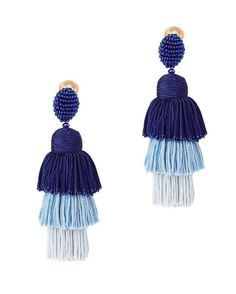 OSCAR DE LA RENTA Tiered Tassel Silk Earrings. #oscardelarenta #earrings