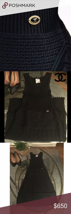 """Chanel Black Knit Tank Dress Size 4/FR 36. Black Chanel knit sleeveless A-line dress featuring scoop neckline, CC plaque at waist, abstract patterned skirt and concealed zip closure at side.  Figure hugging and flattering, this piece is a timeless addition to your fall and winter wardrobe. In great condition. Measurements estimated for stretch (not taken flat).  Bust: 34"""" Waist: 26"""" Hip: 42"""" Length: 37""""  80% Viscose, 20% Nylon CHANEL Dresses"""