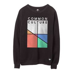 COMMON CULTURE CREWNECK SWEATER. FULL COLOR PRINTED CC LOGO ON THE FRONT, EMBROIDERED PATCH SEWN ON THE LEFT SHOULDER WITH WOVEN LABEL SEWN ON THE FRONT. SHIPPI