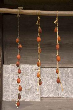Drying kaki (persimmons), Iwami Ginzan, Shimane-ken, Japan