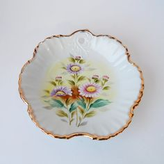 Vintage Porcelain Dish with Daisies by FairfaxDavis on Etsy