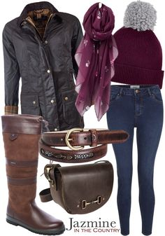 {Country Life - Outfit 1} Jacket - Barbour Beadnell Wax Jacket in Rustic Jeans - New Look India Skinny Jeans in Dark Blue Wash Boots - Dubarry Galway Boot in Walnut Hat - Joules Gracie Chenille Hat in Burgundy Scarf - Joules Wensley Scarf in Plum Veg Print Gloves - Joules Gracie Chenille Fingerless Gloves in Burgundy Belt - Mackenzie & George Drayton Feather Belt in Chocolate Bag - Grays Haston Bag in Hunter